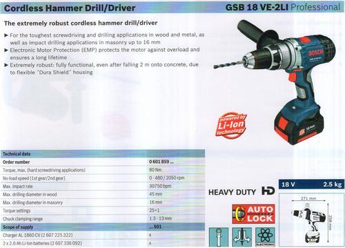 HAMMER DRILL & DRIVER ( GSB 18 VE-2LI Professional)