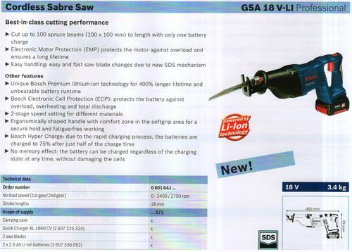 SABRE SAW ( GSA 18V-LI Professional)