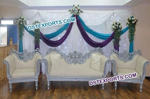 Asian Wedding New Silver Carved Sofa Set