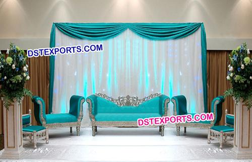 Wedding Beautiful Silver Blue Sofa Set