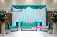 Wedding Beautiful Silver Blue Sofa Set