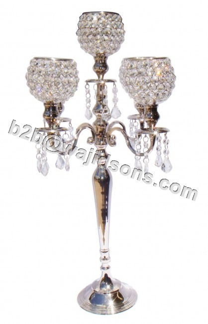 Crystal Pillar Candlebra with hanging Crystals