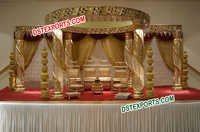 Golden Fiber Crystal Mandap Set
