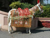 Indian Wedding Red Golden Horse