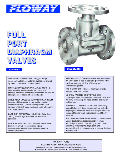 Full Port Diaphragm Valves