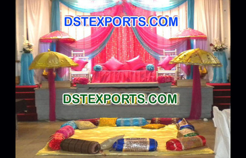 Asian Wedding Colourful Mehandi Stage
