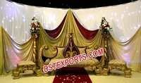 Indian King Wedding Furniture With Stools
