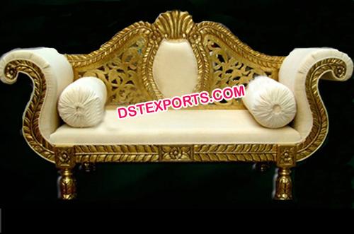 Asian Wedding Golden Brass Metal Love Seater