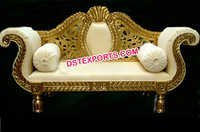 Asian Wedding Golden Brass Metal Love Seater
