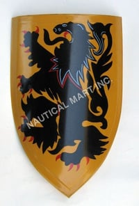 Medieval Lion Shield Hand Painted