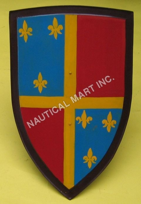 Medieval Fleur-de-lis Shield - Iron, Hand Painted