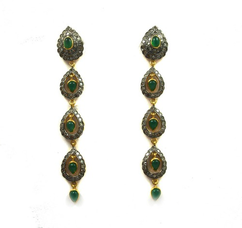 3.86 CT REAL DIAMOND AND CREATED EMERALD VICTORIAN EARRING