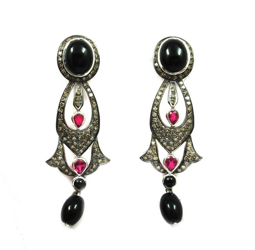 17.05 CT REAL DIAMOND AND BLACK ONYX VICTORIAN EARRING