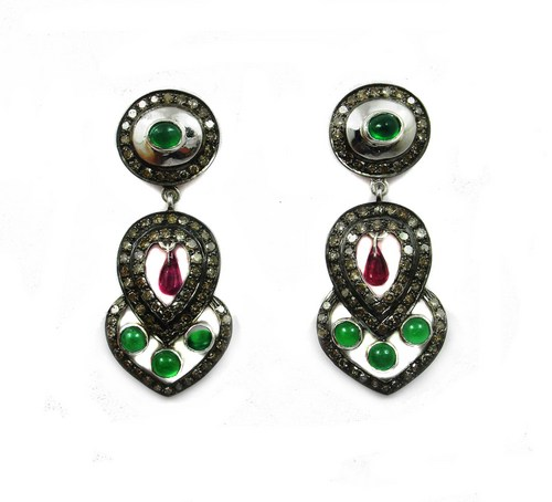 5.51 CT REAL DIAMOND ANDRUBY AND EMERALD VICTORIAN EARRING