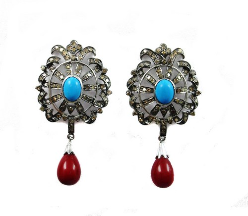 15.01 CT REAL DIAMOND AND BLUE AND RED SPINYL VICTORIAN EARRING