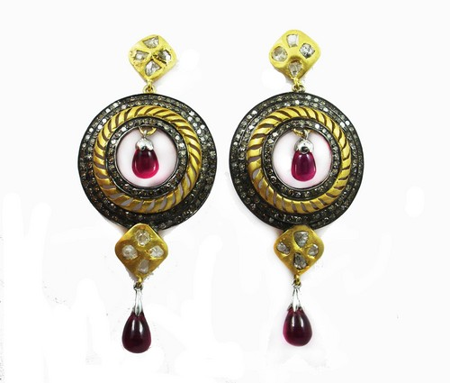 14.27 CT REAL DIAMOND AND CREATED RUBY VICTORIAN EARRING