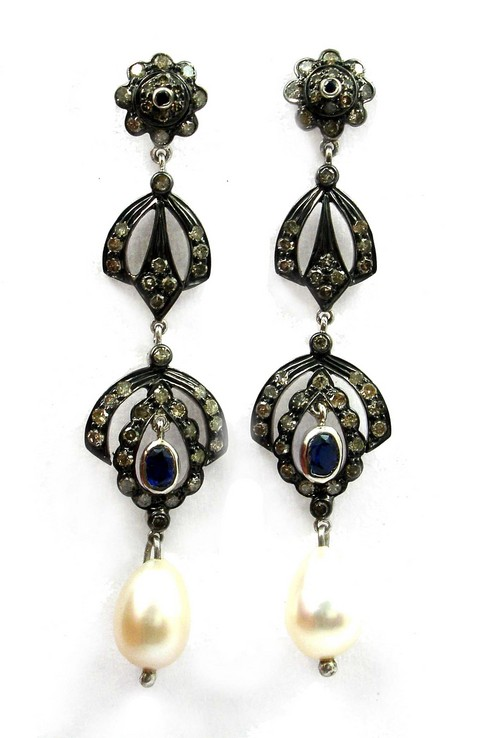 11.07 CT REAL DIAMOND AND PEARLVICTORIAN EARRING