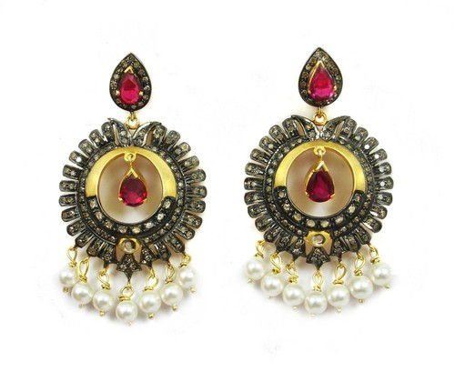 15.55 CT REAL DIAMOND RUBY AND PEARL VICTORIAN EARRING