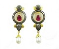 9.86 CT REAL DIAMOND RUBY AND PEARL VICTORIAN EARRING