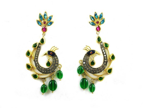 9.18 CT REAL DIAMOND CREATED RUBY EMERALD AND MEENA WORK PEACOCK VICTORIAN EARRINGS