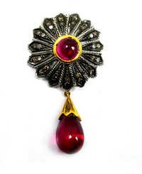 30.22 CT REAL DIAMOND AND CREATED RUBY VICTORIAN PENDANT SET