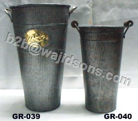 Zink Vase with Brass Label