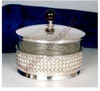 Brass Glass Round Box
