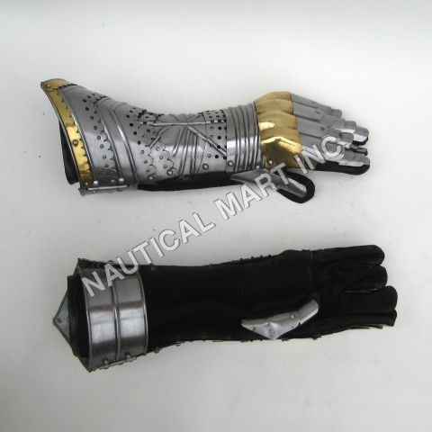 Medieval Armor Brass Gauntlet Pair Gloves