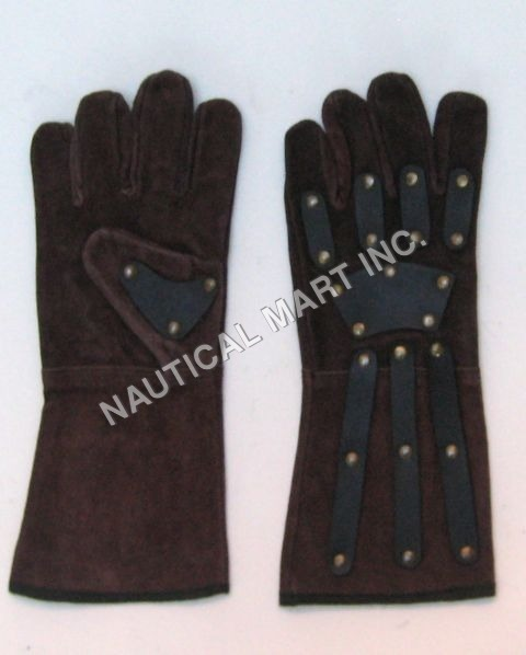 Brown Leather Gauntlets Gloves