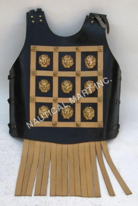 Leather Armor Jacket Brass Fitted