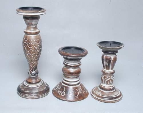 Wooden Carved Pillar Candle Holders