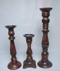 Wooden Carved Candle Holders