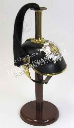 Leather German Helmet Spike with Chin Strap