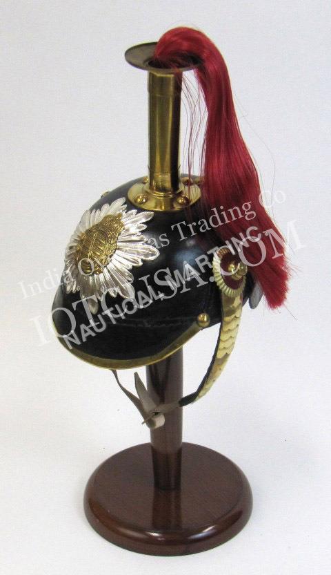 Red Hair Leather German Helmet