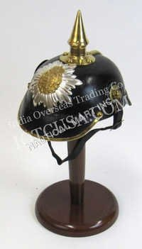 Leather German Helmet With Brass Spike