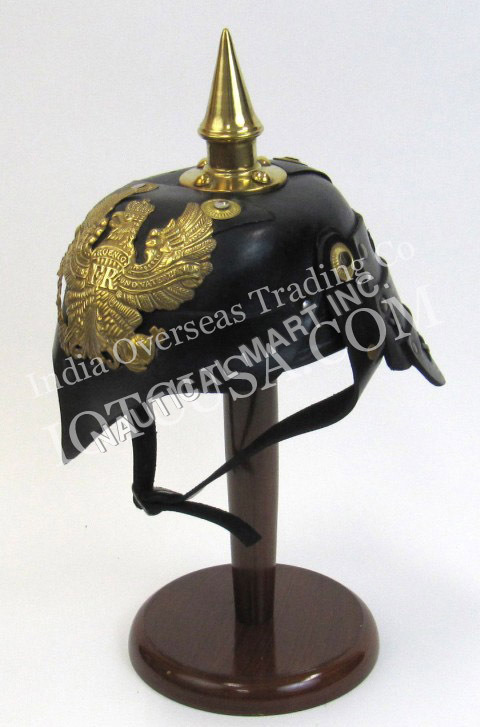 Costume Leather German Helmet Spike