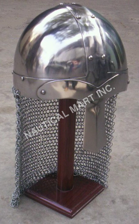 Norman Crusader Armor Helmet with Chain Mail