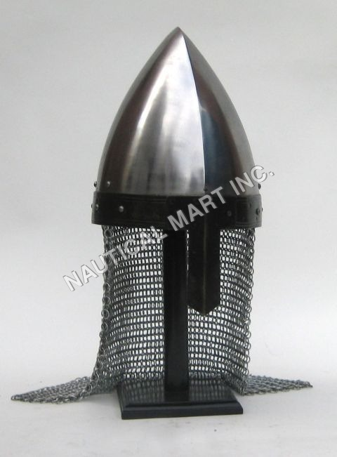Medieval Norman Nasal Helmet With Wooden Stand