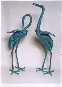 Metal Crane Pair