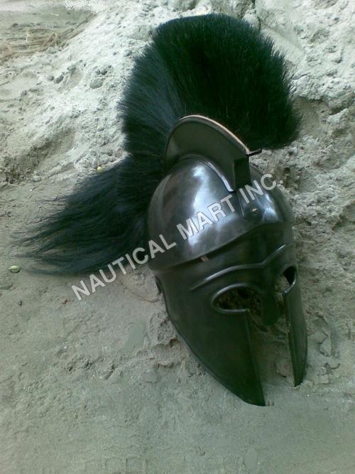 Greek Corinthian Helmet With Black Plume
