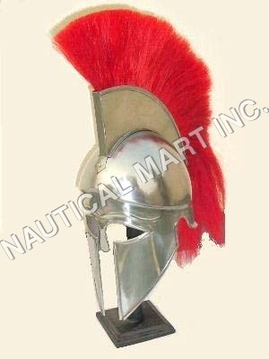 ARMOUR  HELMET CORINTHIAN WITH ORANGE  PLUME  ADULT SIZE