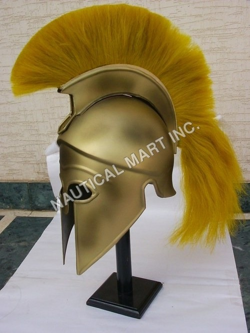 CORINTHIAN HELMET WITH YELLOW PLUME ADULT SIZE