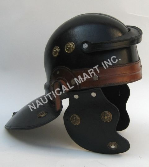 LEATHER ARMOUR HELMET ROMAN GUARD ADULT SIZE