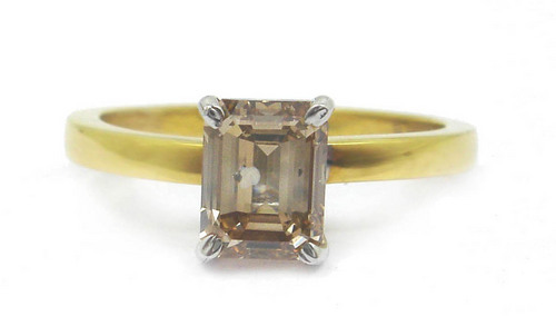1.20 CT GII CERTIFIED EMERALD DIAMOND 14K YELLOW GOLD SOLITAIRE RING
