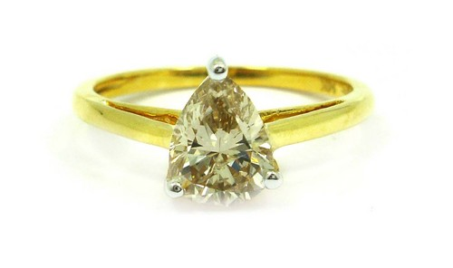 1.03 CT PEAR DIAMOND 14K YELLOW GOLD SOLITAIRE RING