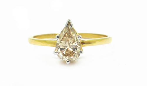 1.04 CT EGL CERTIFIED PEAR DIAMOND 14K YELLOW GOLD SOLITAIRE RING