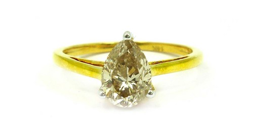 1.17 CT PEAR DIAMOND 14K YELLOW GOLD SOLITAIRE RING
