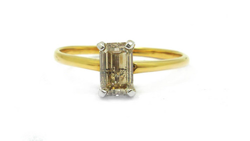 1.01 CT EGL CERTIFIED EMERALD DIAMOND 18K YELLO GOLD SOLITAIRE RING