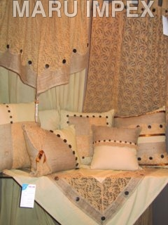 wooden Buttons on Curtains and pillows