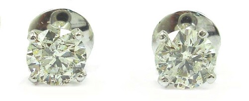 0.98 CT GII CERTIFIED ROUND DIAMOND 14K WHITE GOLD SOLITAIRE STUD EARRINGS